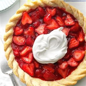 Easy Fresh Strawberry Pie Recipe -For my mother's 70th birthday and Mother's Day, I made two of these strawberry pies instead of a cake. Since it was mid-May in Texas, the berries were absolutely perfect. It was a memorable occasion for the whole family.  —Sue Jurack, Mequon, Wisconsin