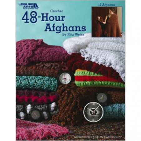 Here are 12 beautiful crochet designs that work up quickly; each can be completed in only 48 hours. Perfect choices when your time is limited! These projects by Rita Weiss are fun to crochet in a short amount of time and use the most interesting and trendy yarns.  Projects include a stadium blanket, afghans and throws.