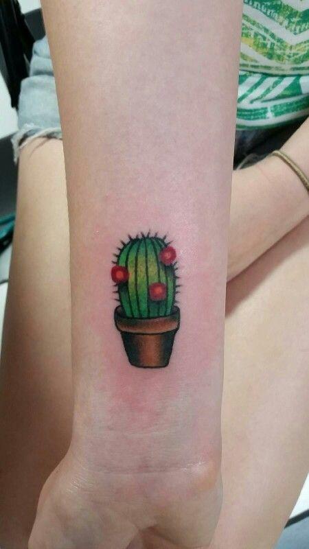 My cactus tattoo by Steven Griffin @ Control Tattoo Titusville, FL wrist tattoo cute small cactus