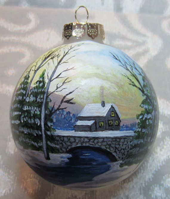 Hand painted glass ornament winter scene by susanlynchart on Etsy