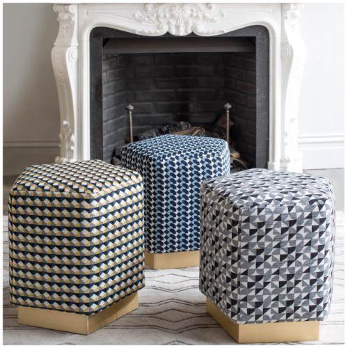 Pentagon Ermes Pouf Curvature Fabrics And Brass Plinth Bespoke Furniture Luxury Furniture Pouf
