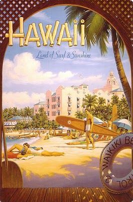 Royal Hawaiian Hotel and Waikiki Beach on a vintage brochure from the early 1930s