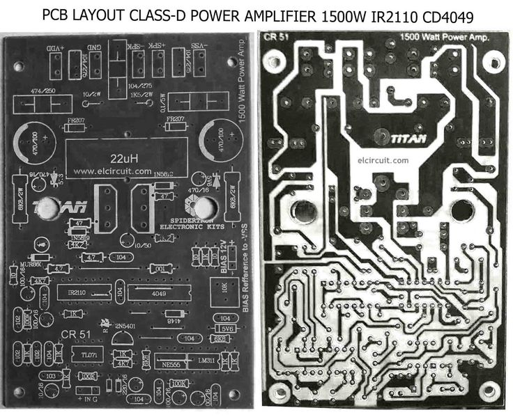 PCB Power Class-D 1500W IR2110 CD4049