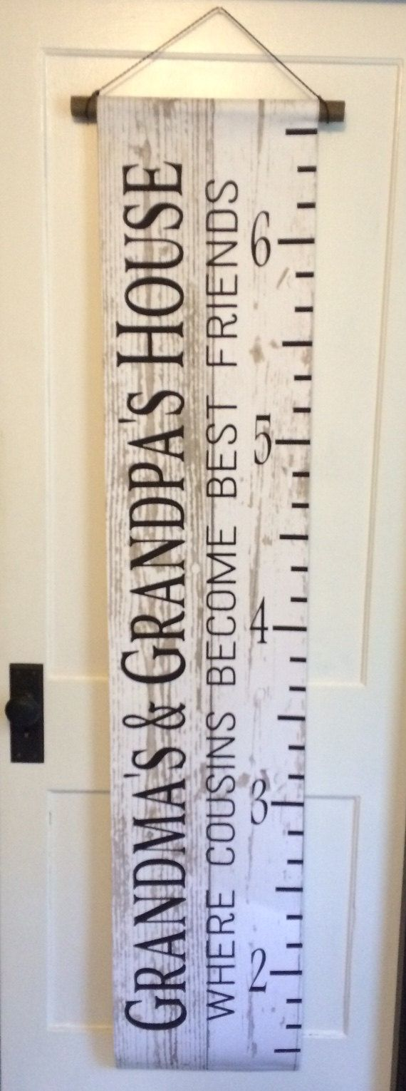 Grandma and Grandpa's House Where Cousin Become Best Friends Growth Chart - Grandparent Gift, Christmas, Birthday