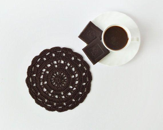 Chocolate brown crochet doily cotton crocheted tea by DiaCrochets