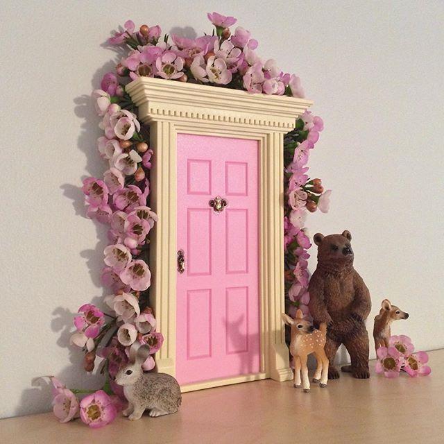 Fairy Door Ideas ideas cute little door awesome pink rectangle mdern wood little fairy door stained design cute little fairy Spring Door Spiration Lilfairydoor Littlefairydoor Fairydoor Spring