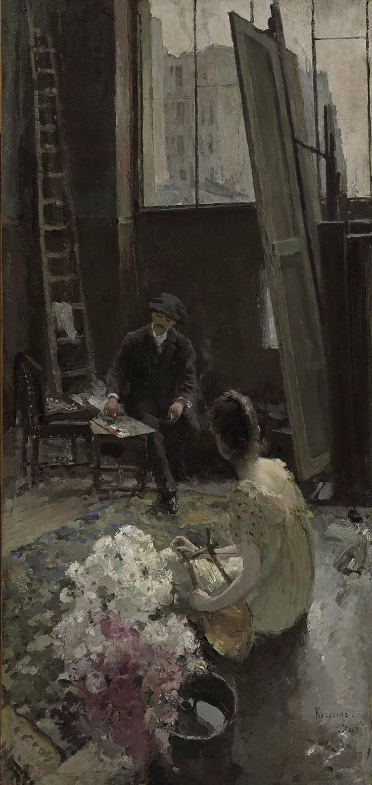 In the artist's studio (c.1892-94).Konstantin Korovin (Russian, 1861-1939). Oil on canvas.