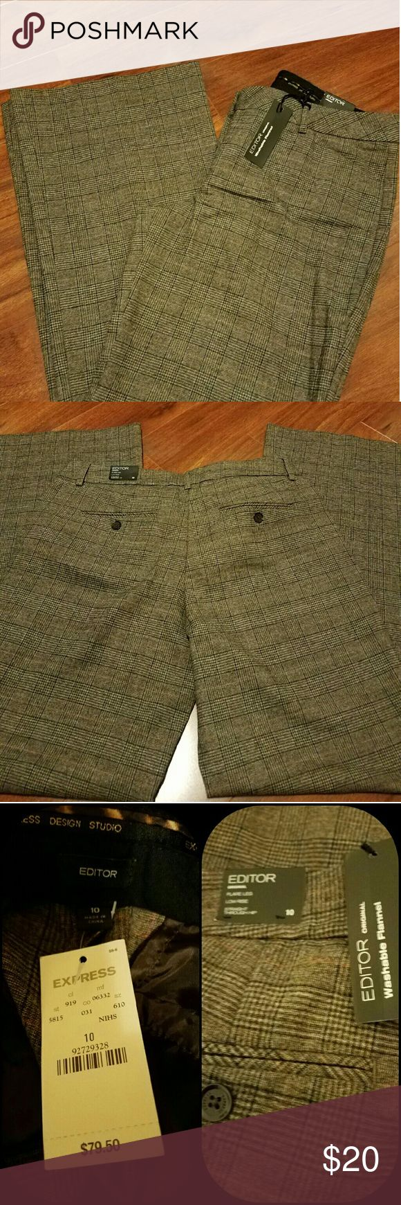 """Express brown slacks Very nice plaid dress pants. Brown with cream & orange. Washable Flannel. Flare Leg. Low Rise. Straight through Hip.  Approx flat measurements  Waist     16.5"""" Inseam  32"""" Thigh     11.5"""" Express Pants Straight Leg"""