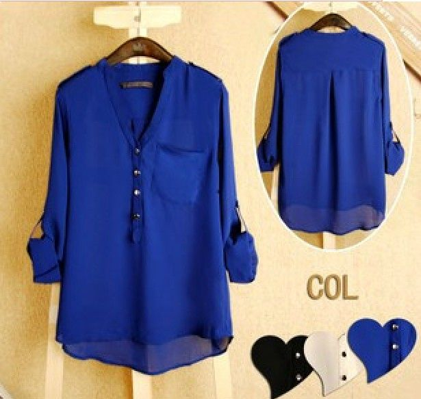 2014 Free Shipment Women Spring V-neck Chiffon elegant all-match solid botton casual spirals shirt blouse loose white blue black