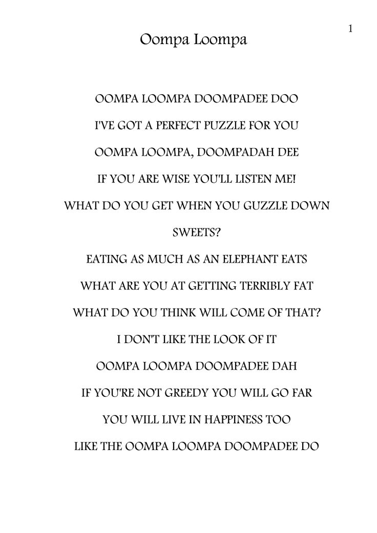 Charlie And The Chocolate Factory Lyrics Oompa Loompa