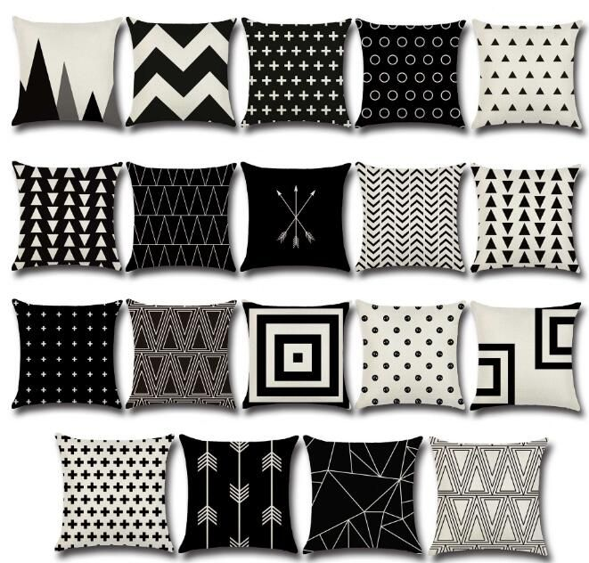 Hot Black White Geometry Printed Cushion Cover Linen Pillow Cover Chair Sofa Bed Car Room Home Dec Wholesale Fg549 Cushions On Sofa White Cushion Covers Linen Pillows