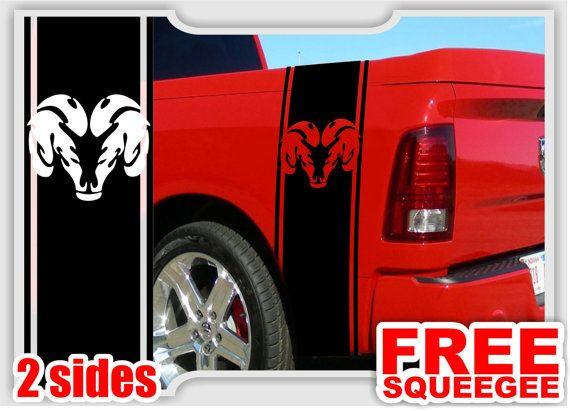 2 dodge ram truck mopar logo bedside vinyl decal custom stickers left right