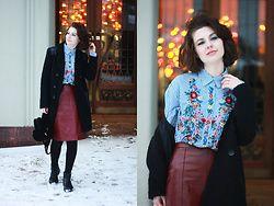 Anastasia Zaprometova - Zara Skirt, Zara Shirt, Vagabond Boots, Asos Bag, Naf Coat - Floral Embroidery