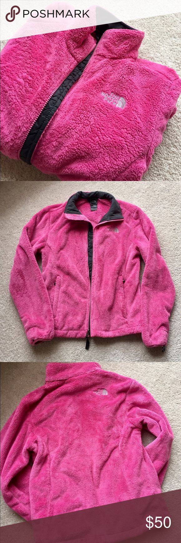 North Face pink zip up jacket Pink North Face fleece jacket, size small. In very good used condition. Full zip up, zipper pockets and bungees at waist to tighten. No stains, tears, holes etc. Smoke free, pet free home. The North Face Jackets & Coats