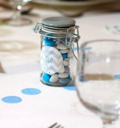 #Déco #table #baptême #dragées #garçon #bleu