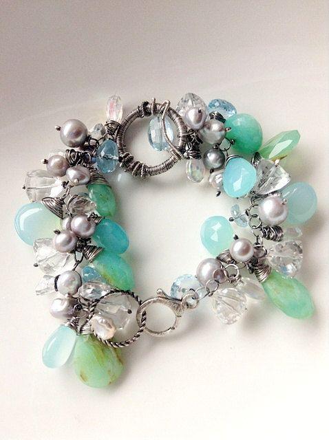 Cluster bracelet opal peruvian topaz swiss by AlekSandraJewelry