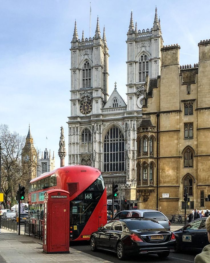 Westminster Abbey, Big Ben, a red phone box, and a double-decker bus...the perfect London view.