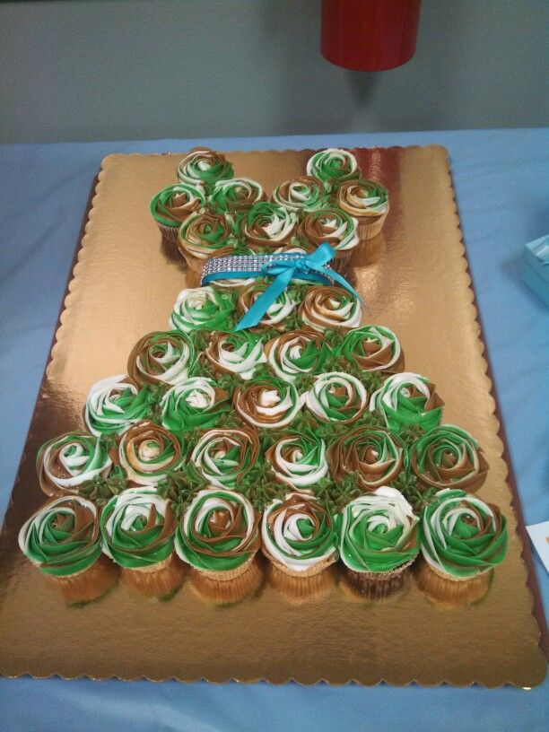 Bridal shower for my brother and his bride. Camo cupcake dress