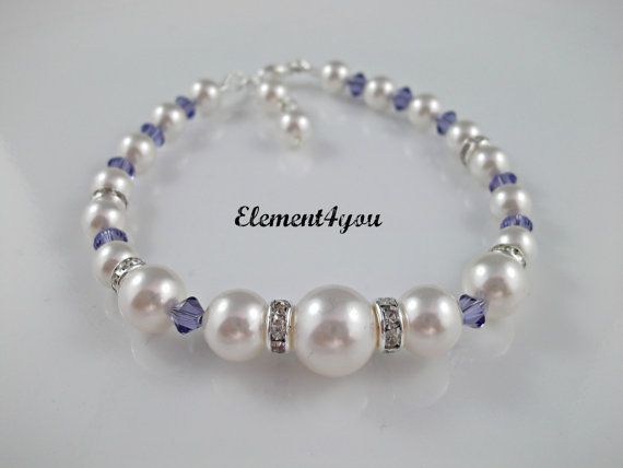 Pearl bracelet, Bridesmaid gift, Wedding bracelet, Swarovski purple champagne pearls, Classic style single strand, Ivory white, Bridal party