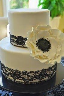 Bridal shower cake  #anemone, #cake, #black, #white, #lace, #bridal shower