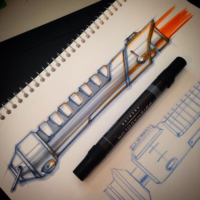 lightsabers in marker. Did it with Prismacolor markers. #sketch #sketchbook #doodle #drawing #sketchaday #starwars #design #industrialdesign #productdesign #propdesign #forceawakens #idsketching #designsketch #art #lightsaber #render #prismacolor #marker #designinspiration #alferezdesign #ideation #conceptart #concept #designer