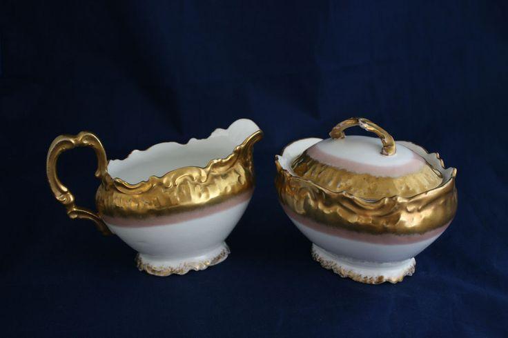 Vntg Sugar Creamer Limoges France Handpainted Gold Trim Stunning! #Limoges