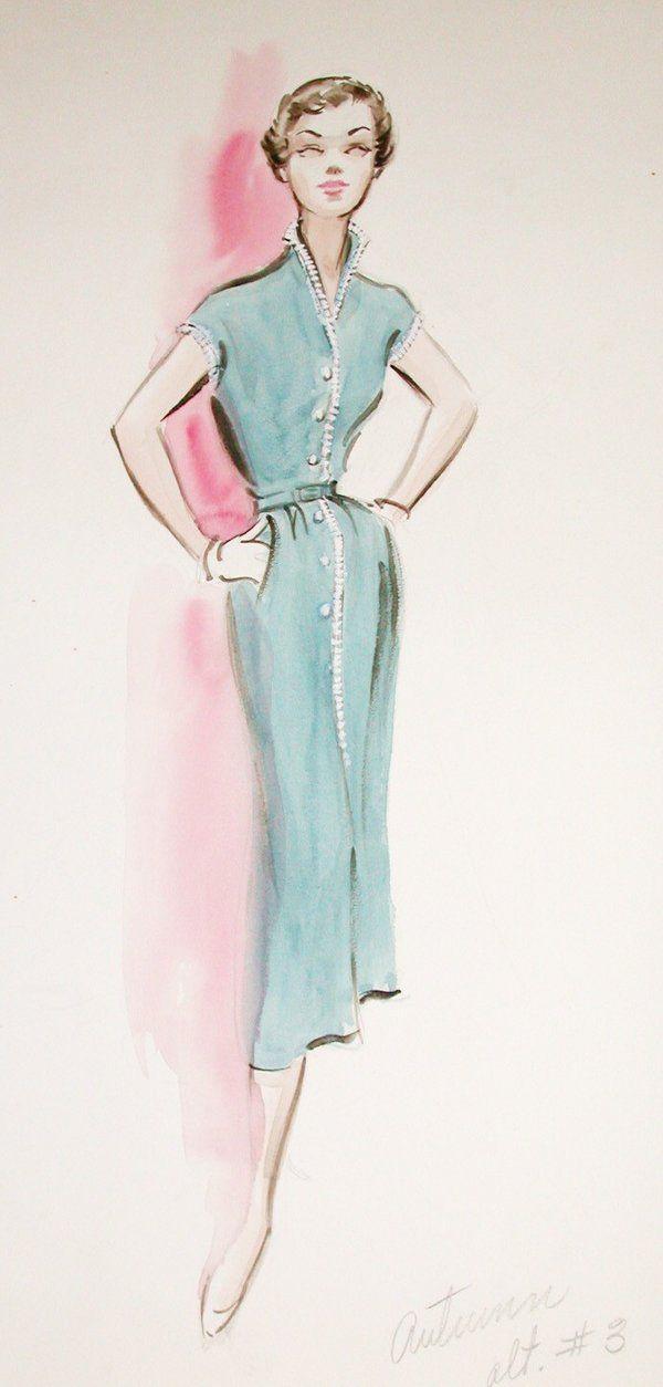 Edith Head Costume Design Sketch