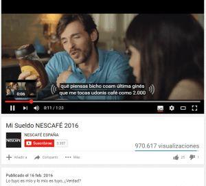 Dejar a Youtube que subtitule tu vídeo Nescafé