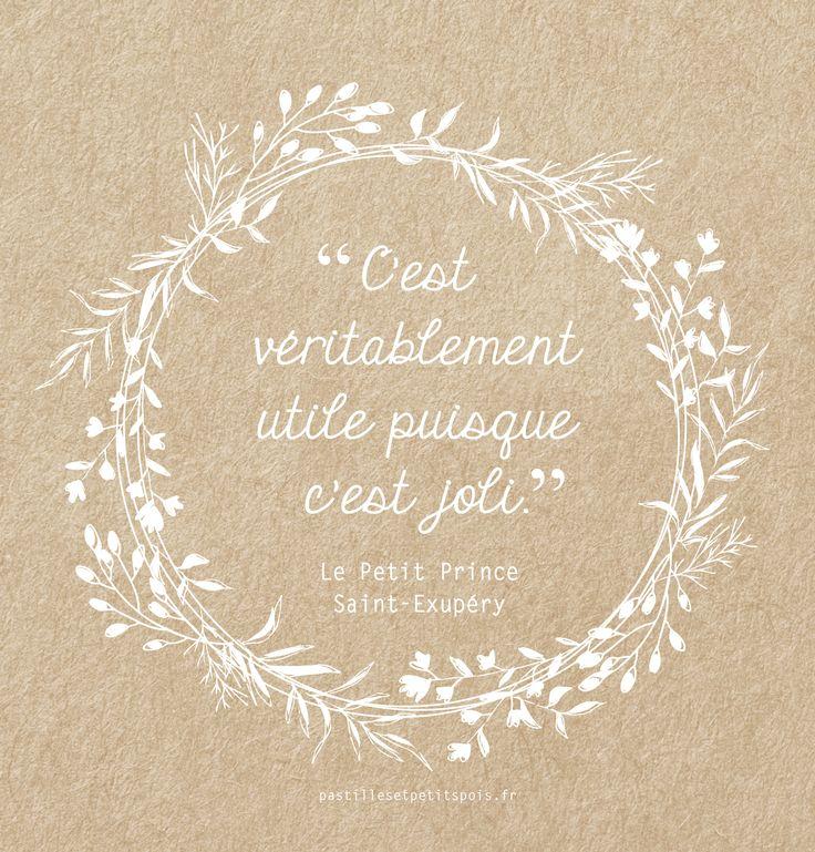Jolie citation sur fond kraft – Le Petit Prince de Saint Exupéry – déco nature…