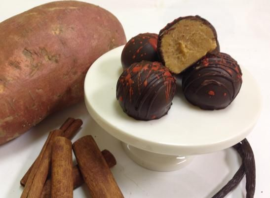 Sweet potato truffles, Chocolate Therapy: This holiday-themed treat features roasted sweet potato mixed with spices and white chocolate and coated in dark chocolate.: Dark Chocolate, White Chocolate, Roasted Sweet Potatoes