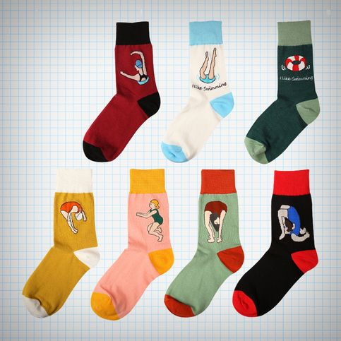 Multicoloured+ankle+socks+with+swimming+theme,+available+in+seven+different+designs,+will+fit+up+to+a+size+EU39