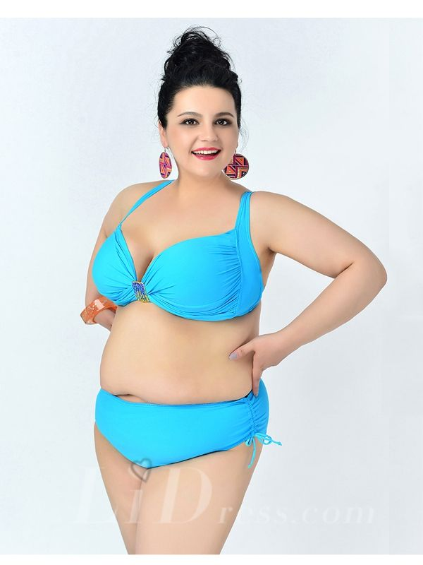 Sky Blue Solid Color High Flexibility Sexy Halter Plus Size Bikini With Widening And Thickening Lidyy1605241073