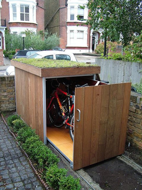 Green roof bike shed - sliding rails storage - by Treesaurus @Jon Smith Smith Herbert