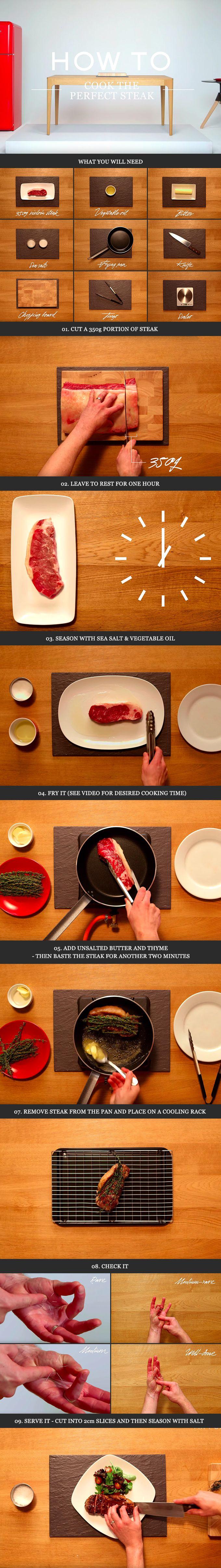 HOW TO COOK A STEAK Step 1: Cut it Step 2: Season it Step 3: Fry it Step 4: Check it Step 5: Serve it. #MRPORTEReats