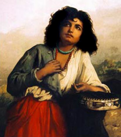painting of a gypsy girl with tambourine