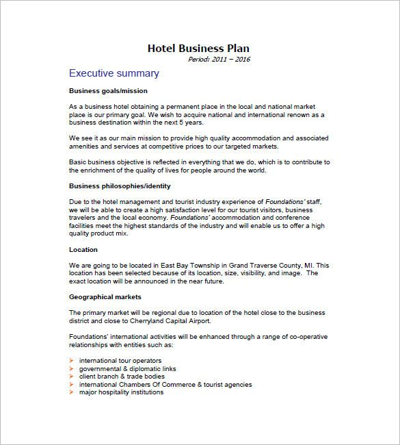 20 Hotel Business Plan Template In 2020 With Images Marketing