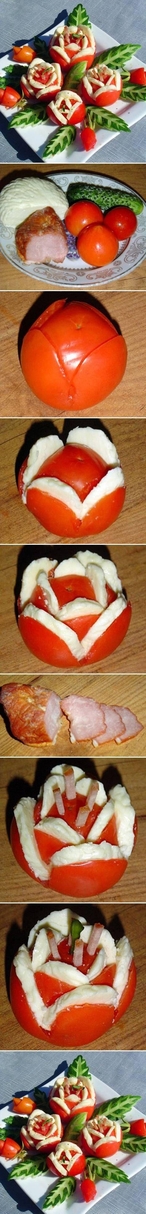 Salé - Une façon originale de présenter des tomates. Facile à réaliser avec de la mozzarella et des cornichons.