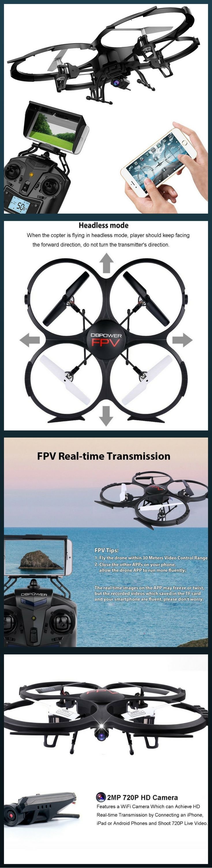 WiFi FPV Quadcopter Drone Headless Mode FIRST PERSON VIEW with VR HEADSET COMPATIBILITY: Enjoy live video feed of your flight from your iPhone or Android Smart mobile device with all new FPV WiFi feature; Easily sync VR headset (not included) to controller, enjoy the thrill of flight as you speed through the air. (FAA Registration NOT Required!)