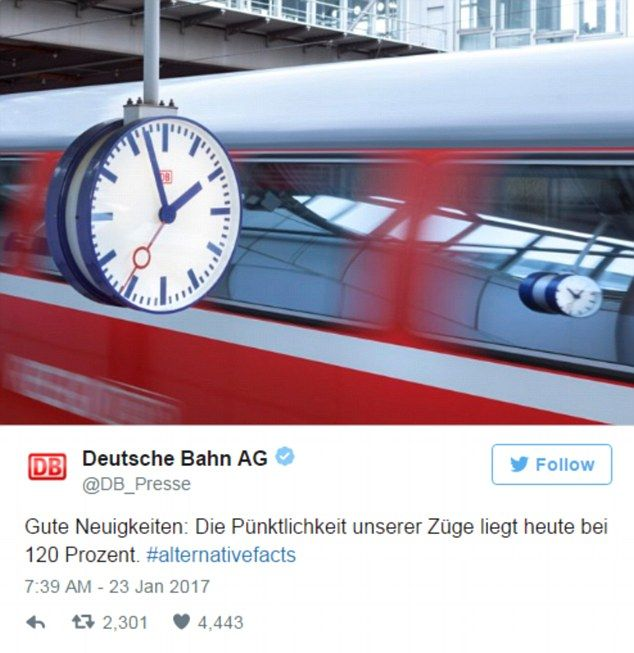 Running late: German train company Deutsche Bahn also added to the fun, joking that their ...