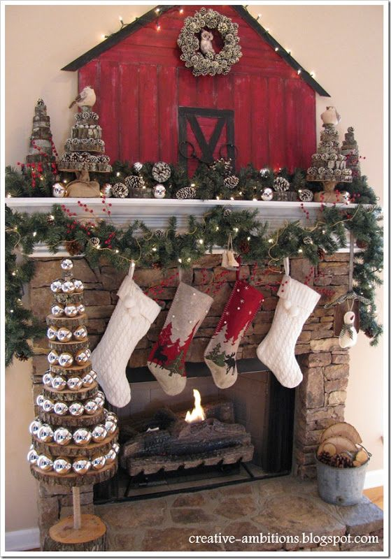 Christmas Mantel - very cute.   Trees from WoOd SliCeS. !+!+  Need one outside.
