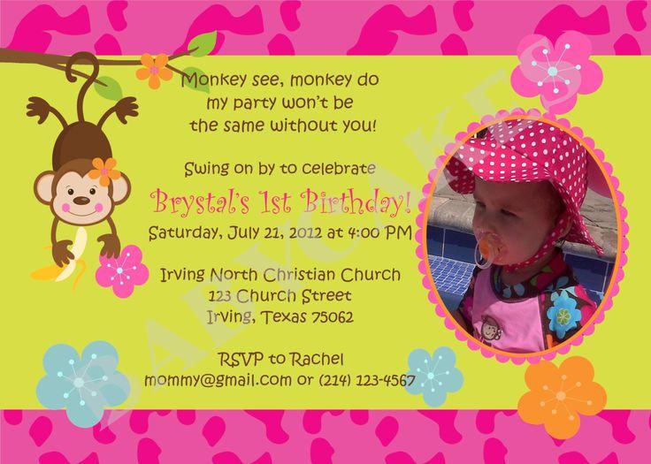 monkey birthday theme | Mod Monkey Love Birthday Invitation Monkey Luau pool Party - DIY print ...