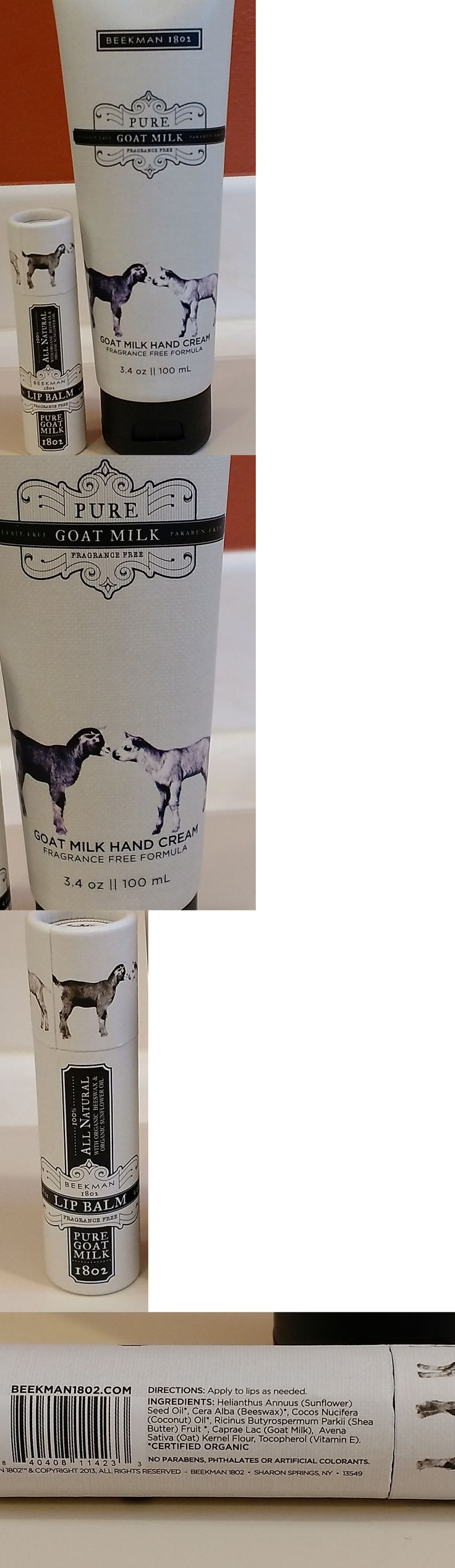 Lip Balm and Treatments: Beekman 1802 Pure Goat Milk Hand Cream 3.4Oz And Lip Balm Fragrance Free, Organic -> BUY IT NOW ONLY: $32.0 on eBay!