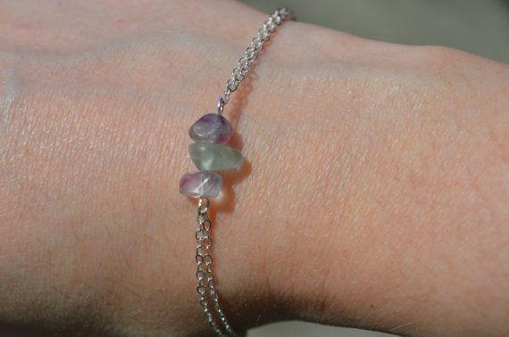 Fluorite Bracelet Dainty Silver/Gold Chain Bracelet Birthstone Jewelry 3 Stone…