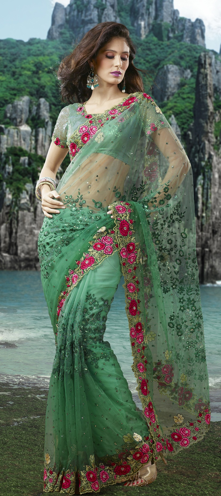 Another embroidered saree from indianweddingsaree.......  Check it out at-> http://www.indianweddingsaree.com/product/62888.html