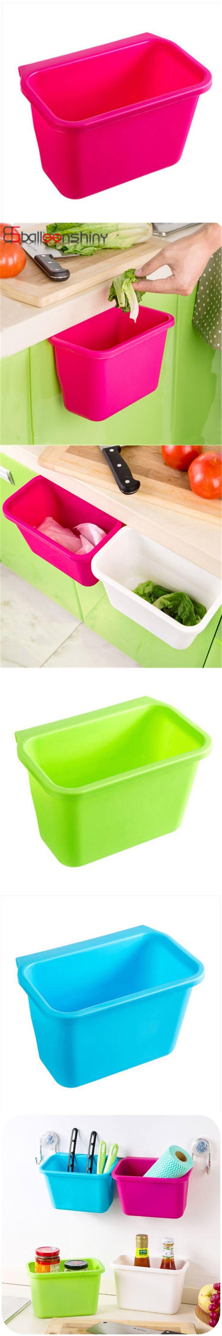 1Pcs Hanging Kitchen Cupboard Drawer Door Plastic Trash Bin Multifunctional Sundries Organizer Holder Convenient Storage Basket