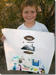 All about me craft.  Let kids fill up a paper with things around the house that represent them!  Great for a rainy day!
