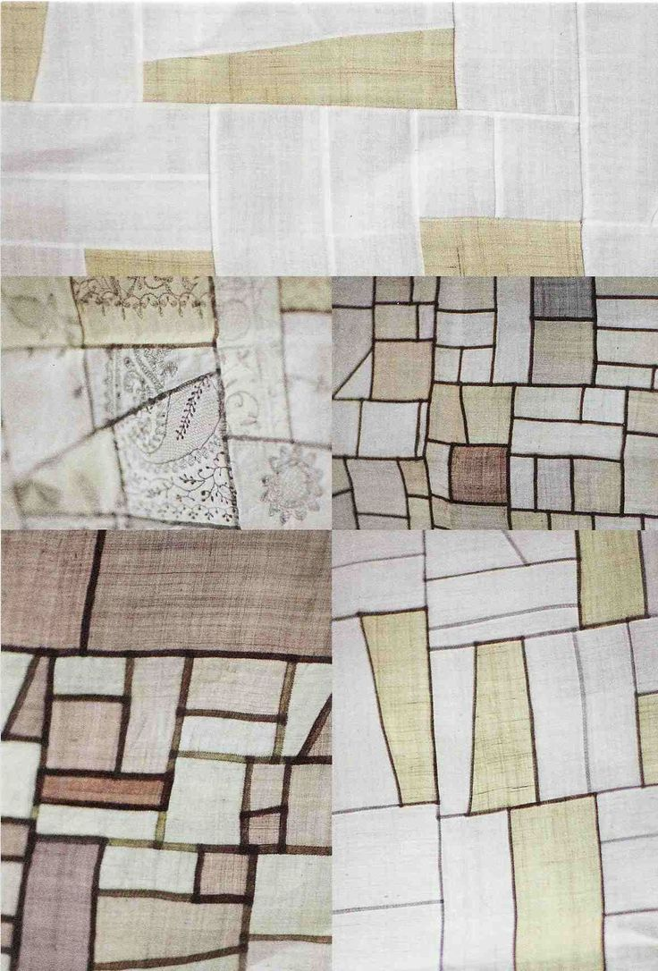 An example of different types of piecing and a variety of whites to taupes.