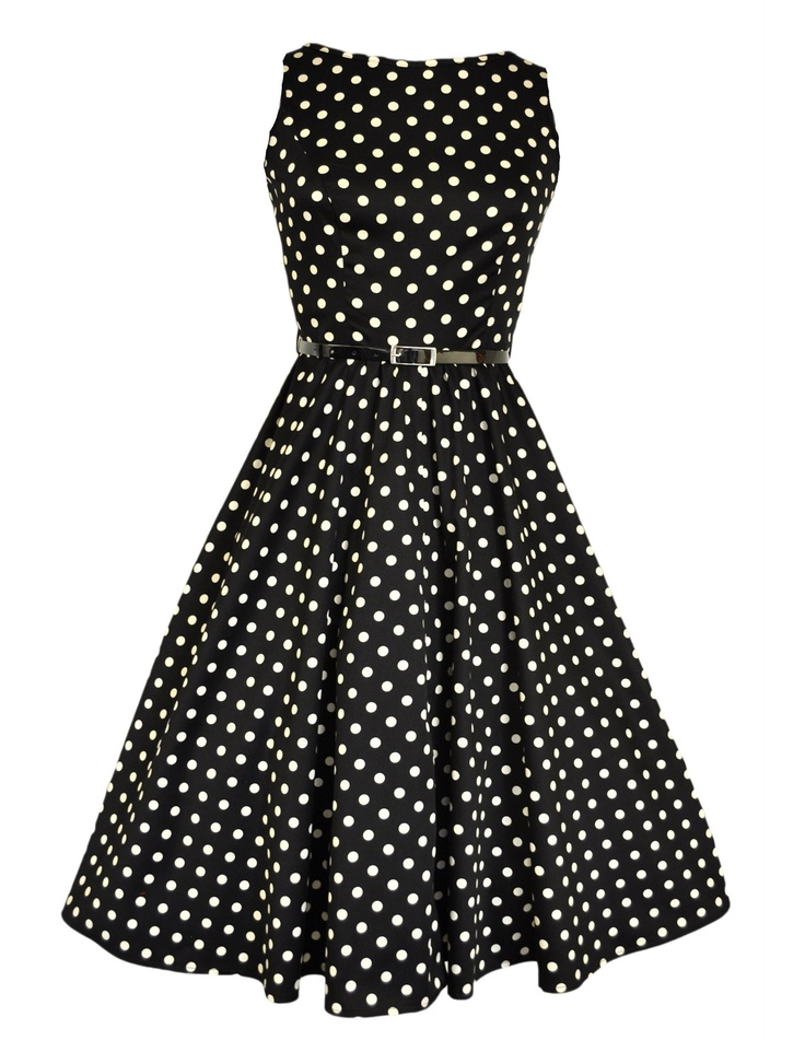 Lady V London Black & White Polka Dot Hepburn Dress: Dots Hepburn, Polka Dots Dresses, White Polka, Hepburn Dresses, Audrey Hepburn, Black White, Polka Dot Dresses, Fab Prints, 50S Swings