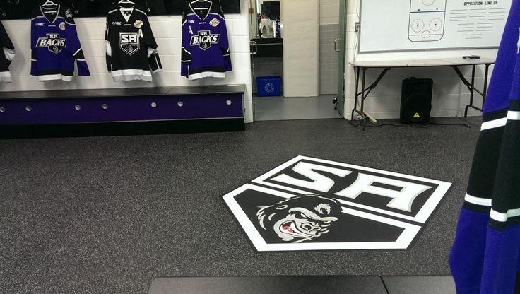 Seamless addition of a custom logo #design in #hockey team dressing room.