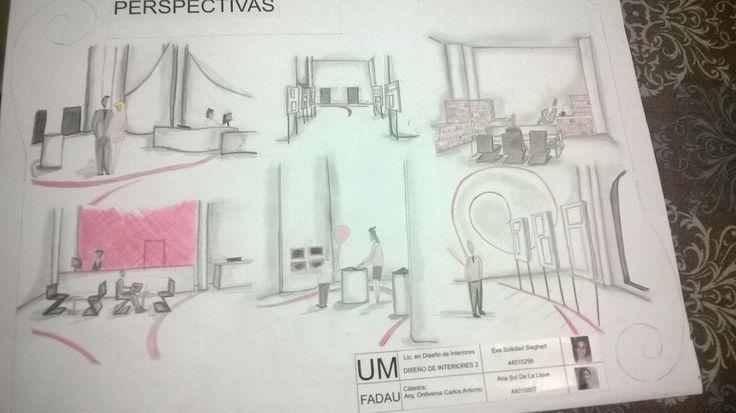 Croquis del diseño de interior de un Centro Cultural en el barrio de Abasto, Bs.As. Sketch